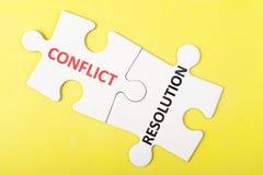Palabras del conflicto y de la resolución Fotos de archivo