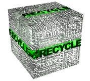 Palabras del cubo con palabra del recicle en verde Foto de archivo