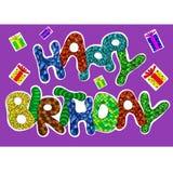 Palabras del feliz cumpleaños fijadas para la tarjeta de felicitación Imagenes de archivo