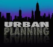 Palabras del horizonte de Scape de la ciudad de la noche del planeamiento urbano Fotografía de archivo