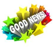 Palabras del mensaje del aviso de buenas noticias en estrellas Fotografía de archivo