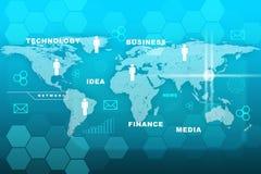 Palabras del negocio con el mapa del mundo en azul Foto de archivo libre de regalías