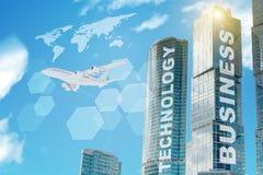 Palabras del negocio en edificios stock de ilustración