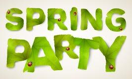 Palabras del partido de la primavera del vector, hechas de las hojas verdes Foto de archivo