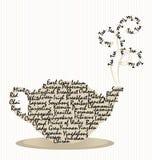 Palabras del pote del té con vapor en rayas Fotos de archivo libres de regalías