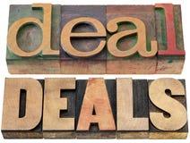 Palabras del trato y de los tratos Imágenes de archivo libres de regalías