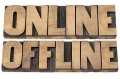 Palabras en línea y off-line Fotografía de archivo libre de regalías