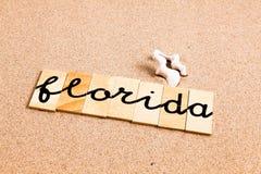 Palabras en la arena la Florida Imagen de archivo libre de regalías