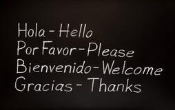 Palabras españolas y sus traducciones inglesas Foto de archivo libre de regalías