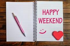 Palabras felices del fin de semana imágenes de archivo libres de regalías