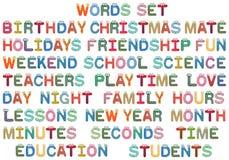 Palabras fijadas para los niños Imágenes de archivo libres de regalías