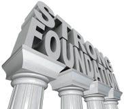 Palabras fuertes de la fundación en las columnas de mármol de los pilares stock de ilustración