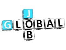 palabras globales del cubo de Job Crossword de la nube 3D Stock de ilustración