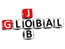 palabras globales del cubo de Job Crossword de la nube 3D Foto de archivo