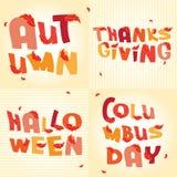 Palabras hermosas de los días de fiesta del otoño con las hojas rojas stock de ilustración