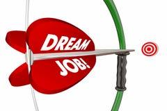 Palabras ideales de Job Bow Arrow Hitting Target Imágenes de archivo libres de regalías