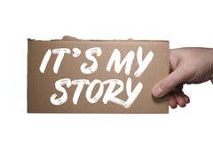 Palabras It's mi historia escrita en la cartulina Trayectoria de recortes imágenes de archivo libres de regalías