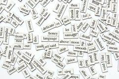 Palabras magnéticas clasificadas fotografía de archivo libre de regalías