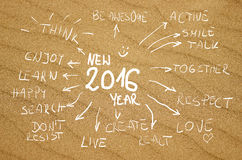 Palabras manuscritas 2016 de la idea de la resolución en un fondo amarillo real de la arena Imagen de archivo