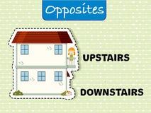 Palabras opuestas para arriba y abajo stock de ilustración