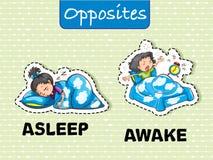 Palabras opuestas para dormido y despierto stock de ilustración