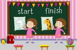 Palabras opuestas para el comienzo y el final con la jirafa del dibujo de la muchacha Imágenes de archivo libres de regalías