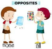 Palabras opuestas para ningunos y todos stock de ilustración