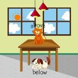 Palabras opuestas para por encima y por debajo con del gato y el perro en el cuarto stock de ilustración