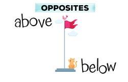 Palabras opuestas para por encima y por debajo de ilustración del vector