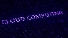 Palabras púrpuras de CLOUD COMPUTING hechas con las partículas luminescentes del vuelo La tecnología moderna relacionó la animaci ilustración del vector