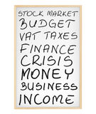 Palabras relacionadas con el mercado en tarjeta magnética Foto de archivo