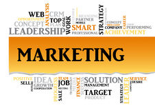 Palabras relacionadas del márketing de negocio en nube de la etiqueta Imágenes de archivo libres de regalías