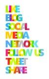 Palabras sociales del color de los media Imagen de archivo libre de regalías