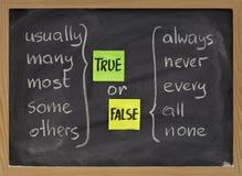 Palabras verdaderas o falsas Foto de archivo libre de regalías
