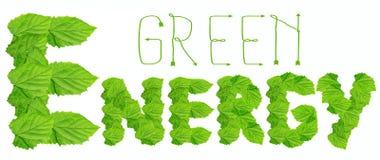 Palabras verdes de la energía hechas de hojas Imagenes de archivo
