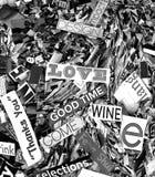 Palabras y magaazine al azar de las letras en amor monocromático solarized Foto de archivo libre de regalías