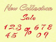 Palabras y números bordados para la venta al por menor Imagenes de archivo