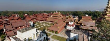 Palace在曼德勒全景,缅甸(缅甸)国王 免版税库存照片