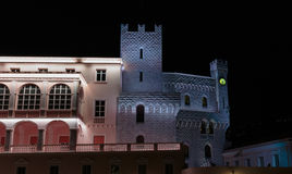 Palace王子在摩纳哥在晚上 免版税库存照片