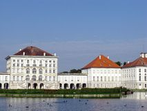 Palace. The front view of the Nymphenburg palace in Munich in Germany Stock Photo