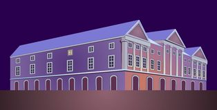 Palace. Classic house in the night light, drawing stock illustration