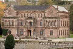 Palace. View to the gothic palace in a forest of Comillas, cantabria stock photos