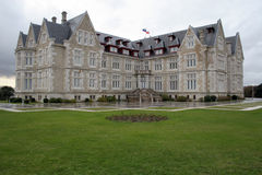 Palace. Historic building in a park on a peninsula in front Santander stock photography