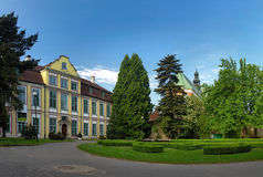 Palace Abbots with the Cathedral in Oliwa. Park in Oliwa palace the Abbots and cathedral, Poland Stock Image
