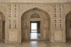 Palace at Agra Fort. Arches at the Agra Fort, magnificent fortified palace in  India. This maharajah residence is an  Unesco world heritage site Royalty Free Stock Photo