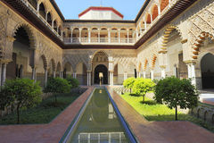 Palace of Alcazar, Famous Andalusian Architecture. Old Arab Palace in Seville, Spain Royalty Free Stock Photography