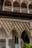 The Royal Alcazar of Seville at the Courtyard of the Maidens royalty free stock images
