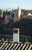 The palace of the Alhambra and the chimneys of Albaicin, Granada, Spain Stock Photography