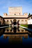 The palace of Alhambra in Spain, Europe. Patio de los Arrayanes in the palace of Alhambra in Spain, Europe royalty free stock photo