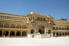 Palace at Amber Fort, Travel to Jaiper, India Royalty Free Stock Images